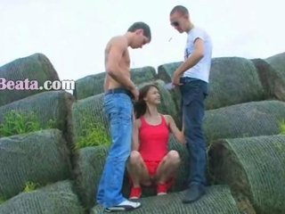 shocking double fuck outside in teen