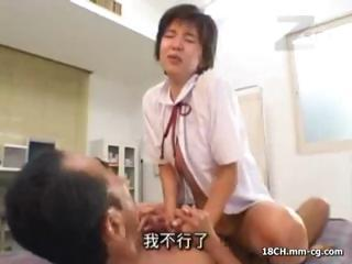 Asian Old and Young Riding Teen