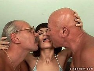Sexy Teen Spread out Having it away Surrounding Two Grandpas