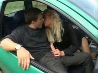 Car Clothed European French Handjob
