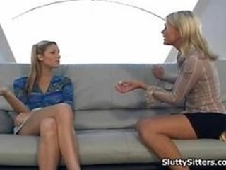 Cute babysitter in hot threesome action
