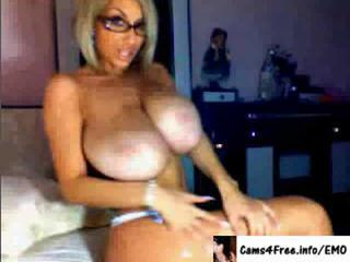 Amazing Big Tits Glasses Masturbating  Solo Webcam