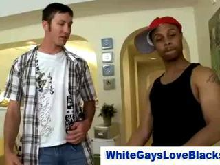 White gay loves sucking big black cock