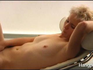 Solo blonde stripping & masturbating