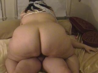 Fat wife sucks & fucks with tied up tits
