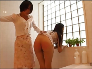 Asian Bathroom Daughter Mom Spanking