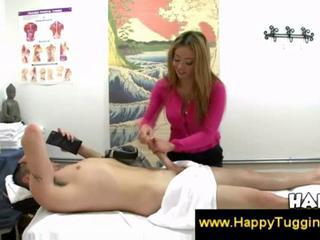 Asian masseuse on touching bleached hair