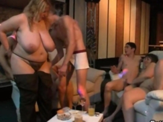 Blonde fatty is fucked in the bar