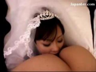 Busty Bride Licking Fingering Pussy In 69 Rubbing In Scissor On The Bed