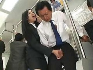 Asian Bus Handjob Old and Young Public Teen