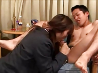 Horny japanese schoolgirl fucks her boyfriends ass.
