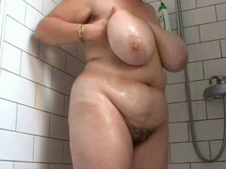 Fat busty hairy wife in the shower