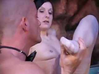 Renee Pornero with two lucky guys in nylon action