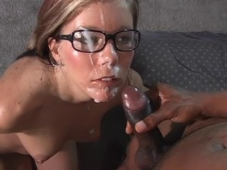 Hottie in glasses butt-banged by a black cock