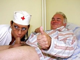Blowjob Daddy Glasses Nurse Old and Young Small cock Teen Uniform