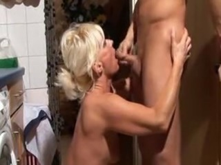 Blonde german mom and not her son fuck in the kitchen