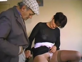 French old man Papy and burnish apply waitress gangbang free