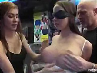 Busty bound babe vibed bu guys and girls in porn store