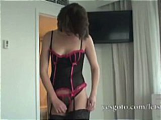 Sexy amateur brunette shows her new stockings and then gets anal fucked