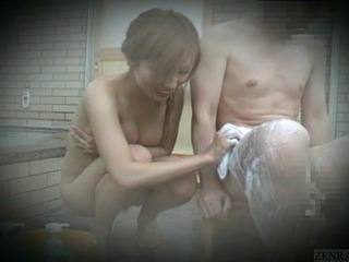 Subtitled Japan female exhibitionist group bathing stake
