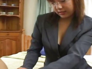 Busty Japanese babe fucked convenient home roundish
