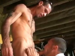 French hunks suck cock in toolshed