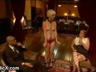 Blonde Chloe Camilla bdsm orgy fucked at dinner band