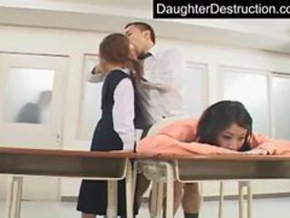 Asian Clothed Daddy Old and Young Teen Threesome