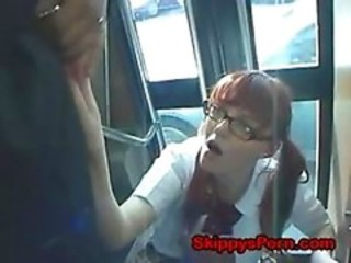 Asian Bus Glasses Public Teen Uniform