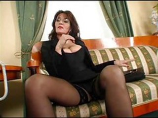 Amazing Big Tits Glasses Mature Stockings