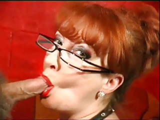 Blowjob Glasses Mature Redhead Small cock
