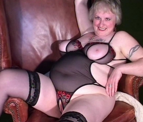 Grey Haired Granny Fingers Her Pussy