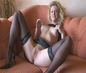 Amateur Blonde European German  Nipples Pussy Shaved Stockings