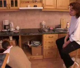 boy and mother having sex in the kitchen