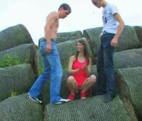 Outdoor double teen penetration of two friends and extra busty teenager