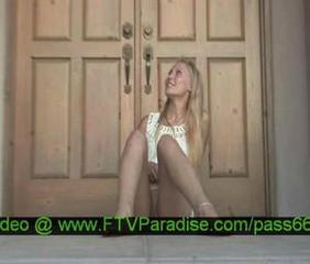 Liz, from ftv girls, amazing blonde girl walking outside her house and plays with dildo
