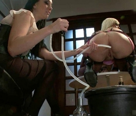 Main in Sexy Lingerie gets an Enema plus Ass Shaved