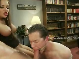 Vain busty mistress with large boobs forces sex slaves to play for her pleasure in dominatrix fuck