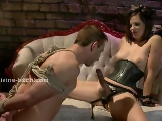 Man sex slave tied and force to learn how to please the dirty sado maso mistress in beautifull female domination sexual video scene