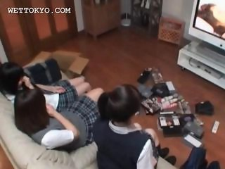 Sweet asian teen girls watching porn movies in their college room