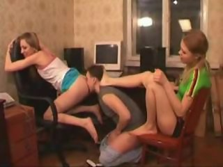 Amateur Femdom Licking Slave Teen Threesome