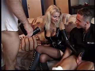 Cute Handjob Latex  Stockings Tattoo Threesome