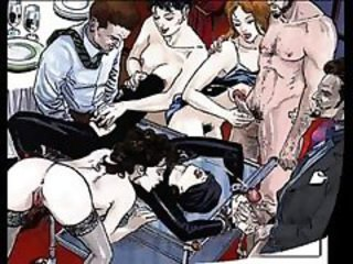 Beautiful brunette is tied by wrists and ankles to a table for insane hardcore bondage orgy