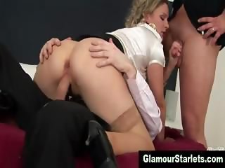 Dirty stockings blonde gets dp