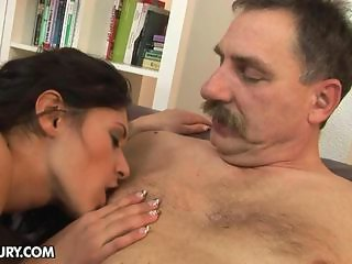 Teen babe Connie is fucking with a sex-mad grandpa