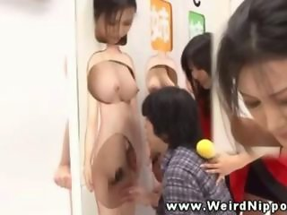 Asian hottie in gameshow gets licked and fingered by nerd
