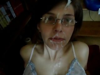 Nerdy German girlfriend gets her face plastered with cum