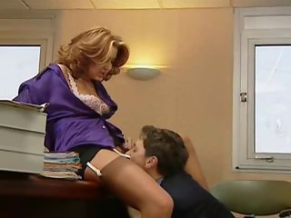 Clothed Licking  Office Secretary Stockings