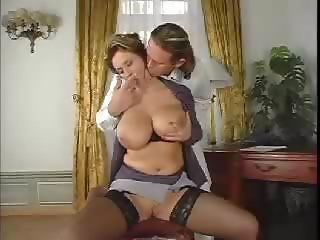 Amazing Big Tits Chubby  Natural Secretary Stockings
