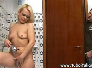 Bathroom European Italian Mature Mom Old and Young Voyeur